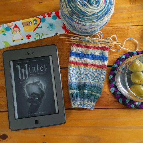 Reading, knitting, drinking